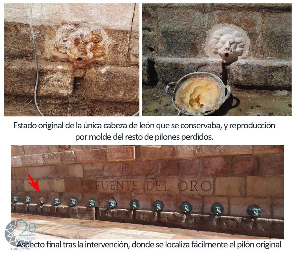 Fuente del Oro. Detalle de Restauracion de los caños