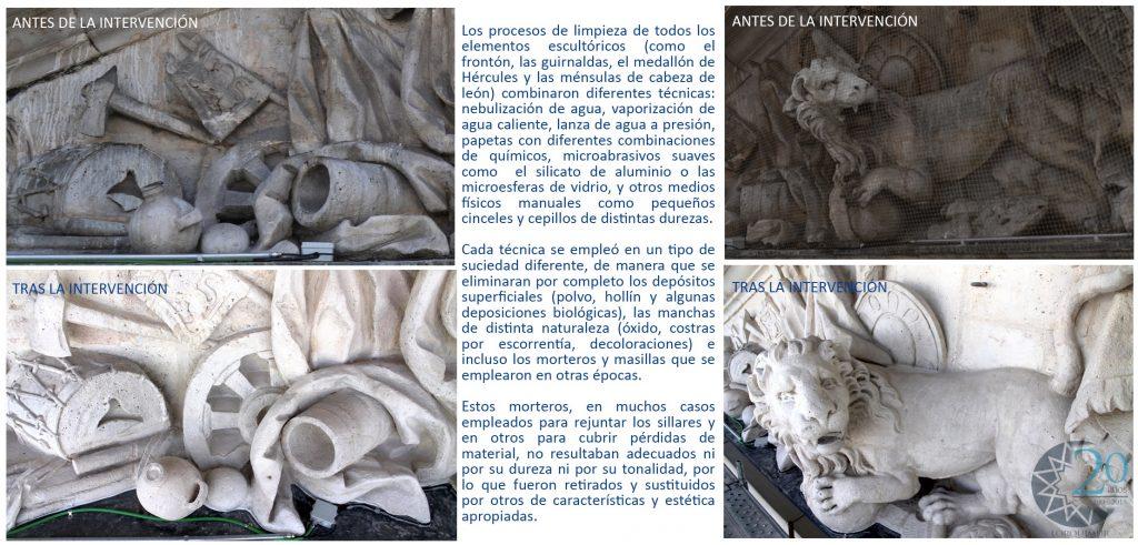 proceso de reparacion fronton Puerta del Sol