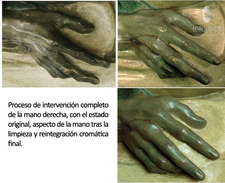 Cristo Yacente Paso Azul proceso-mano